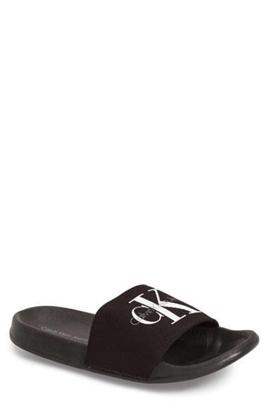 Lyst Calvin Klein Viggo Logo Detail Cavas Slides In Black