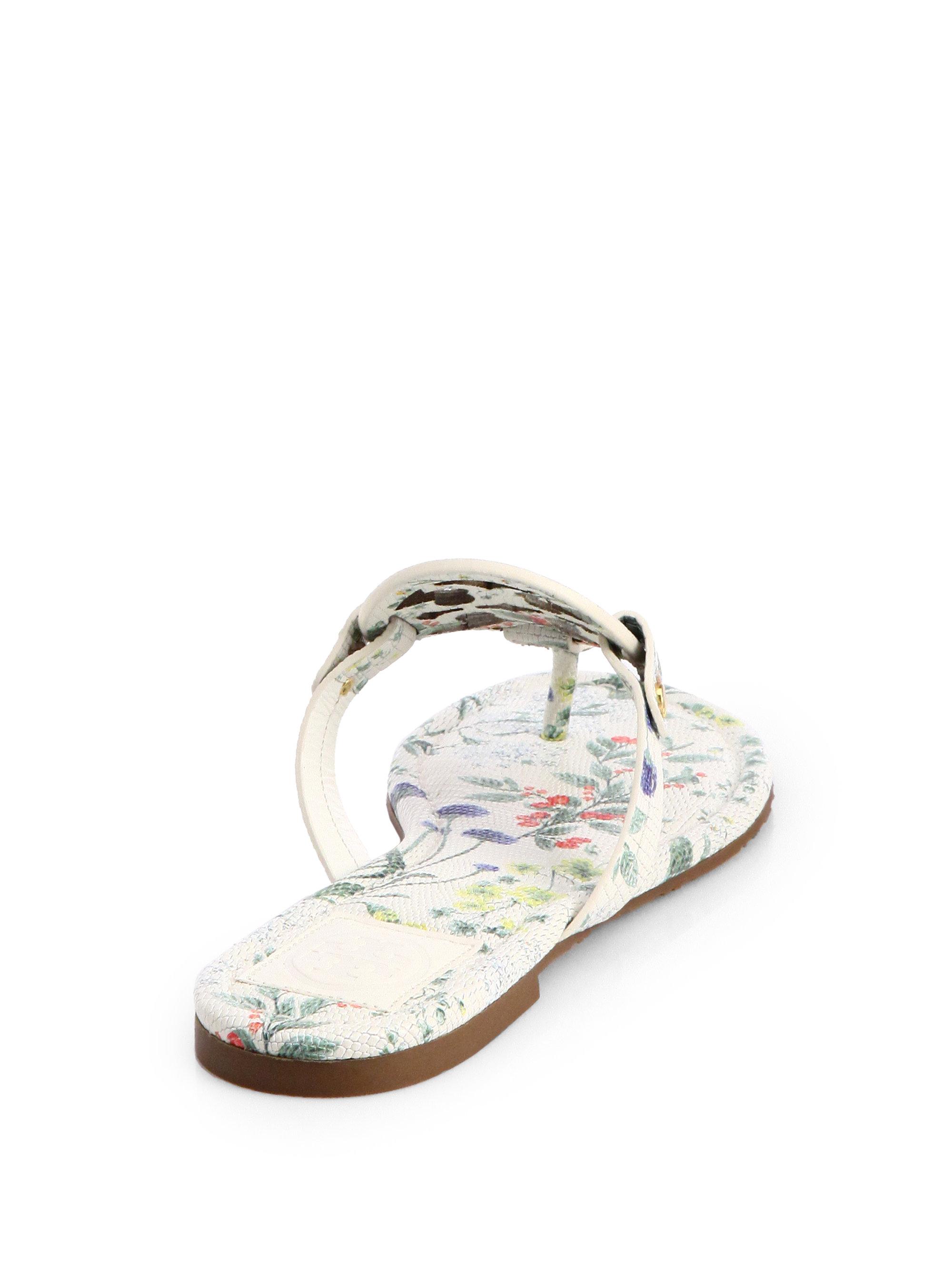 530e3bcc8e9 Lyst - Tory Burch Miller Floralprint Leather Thong Sandals