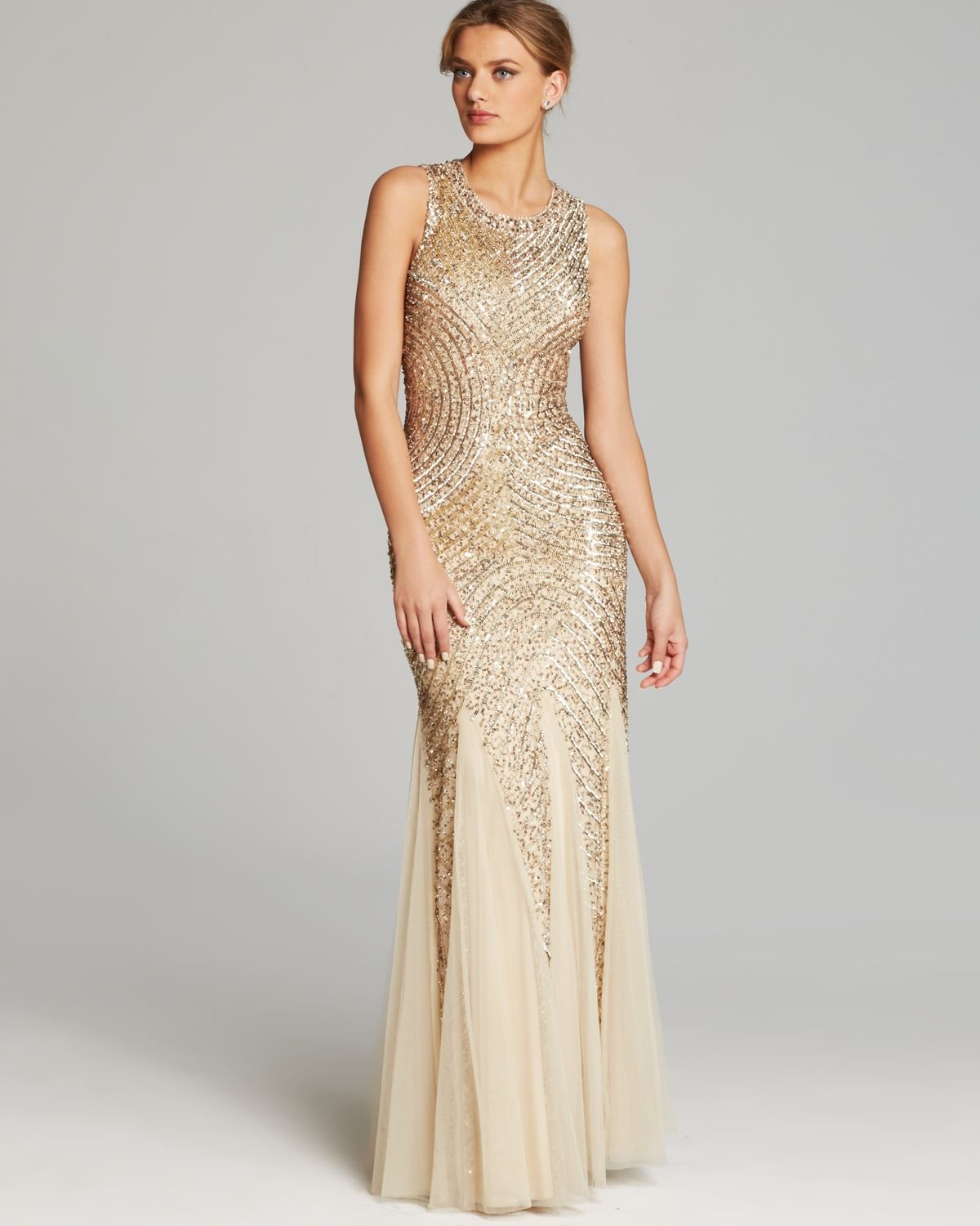 Aidan mattox Gown Sleeveless Sequin Beaded Godet in Metallic | Lyst