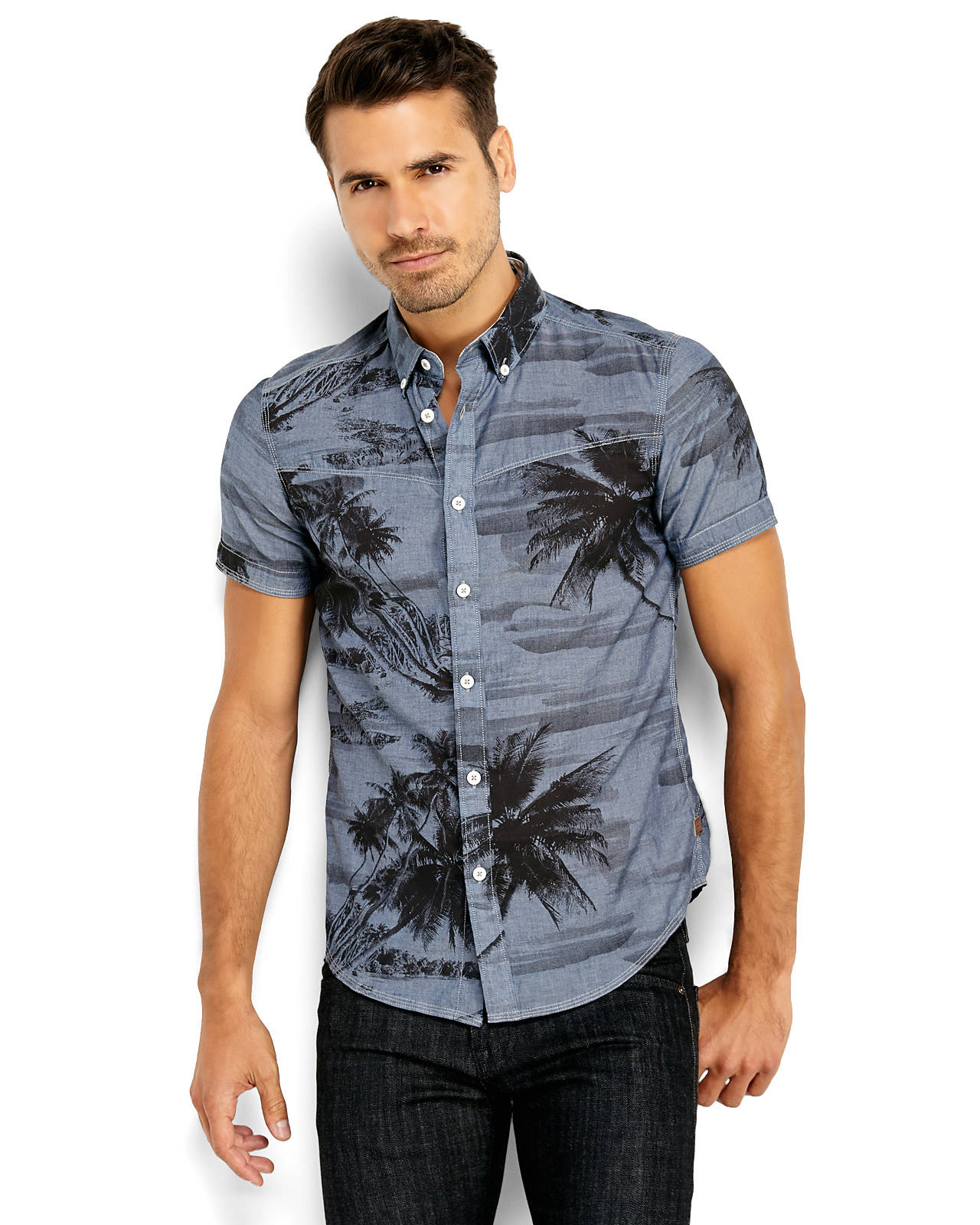 G Star Raw Denim Blue Button Down Sport Shirt In Blue For