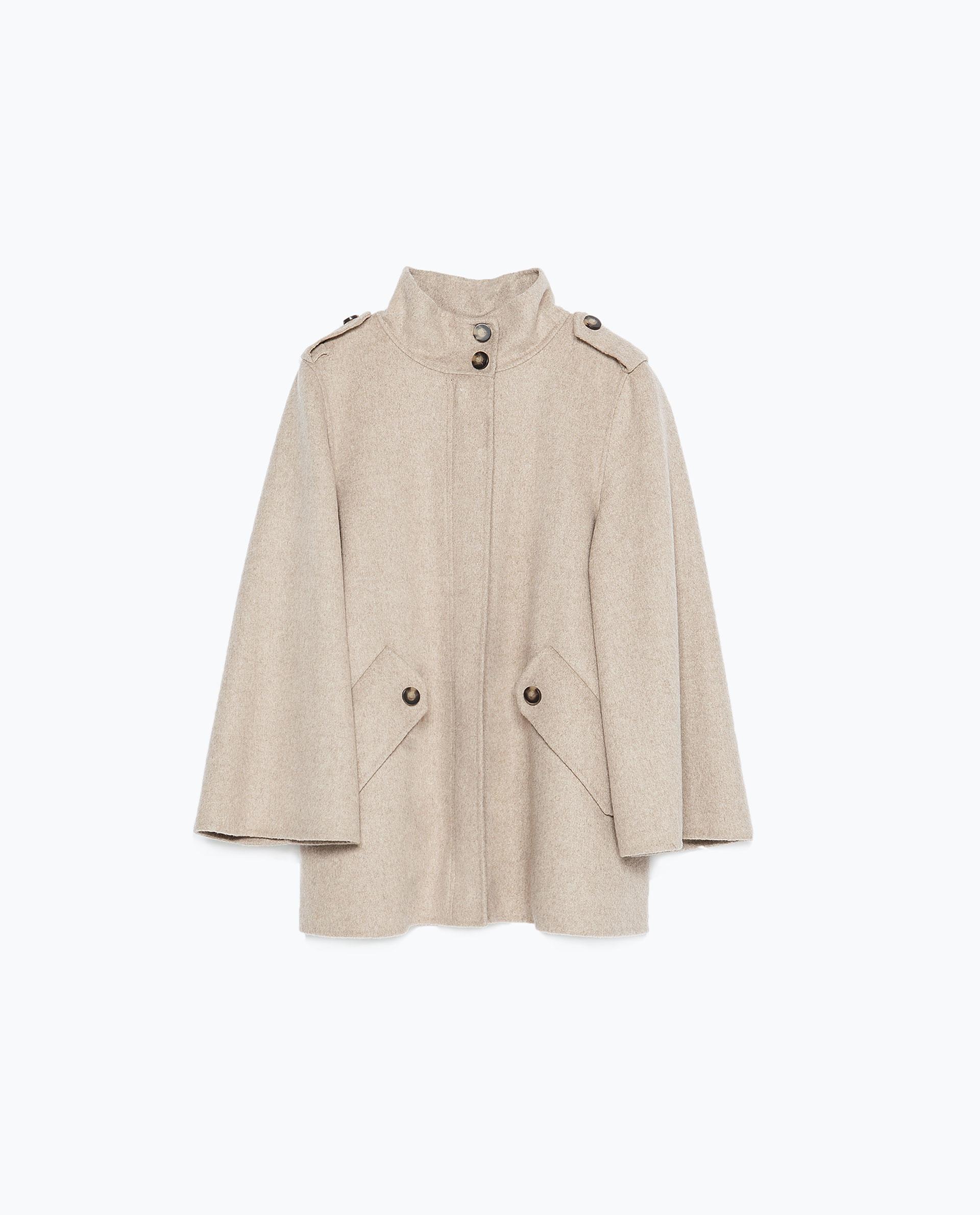 zara handmade cape sleeve coat in natural lyst. Black Bedroom Furniture Sets. Home Design Ideas