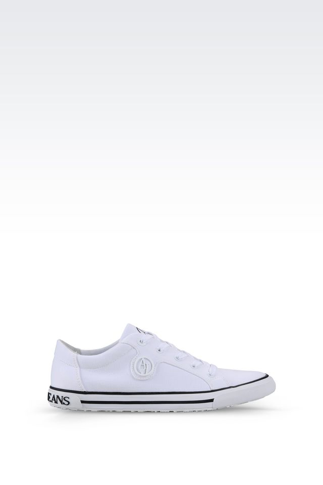 armani jeans canvas sneaker in white lyst. Black Bedroom Furniture Sets. Home Design Ideas
