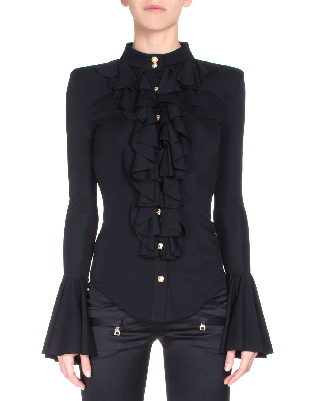 Black Printed Chiffon Ruffle Sleeve Blouse | Select Fashion