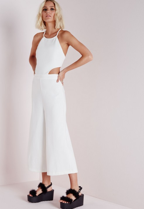 668bfeff90dd Lyst - Missguided Cut Out Culotte Jumpsuit White in White