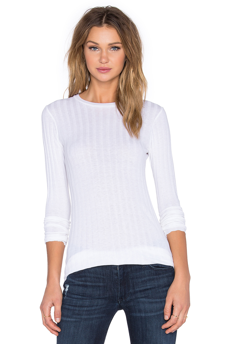 Enza costa Cashmere Slim Long Sleeve Crew Neck Sweater in ...