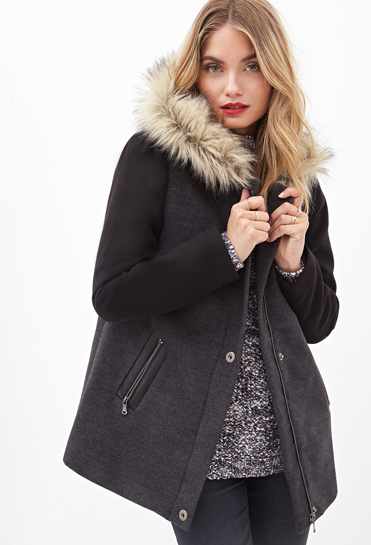 Forever 21 Contemporary Faux Fur-hooded Coat in Gray | Lyst