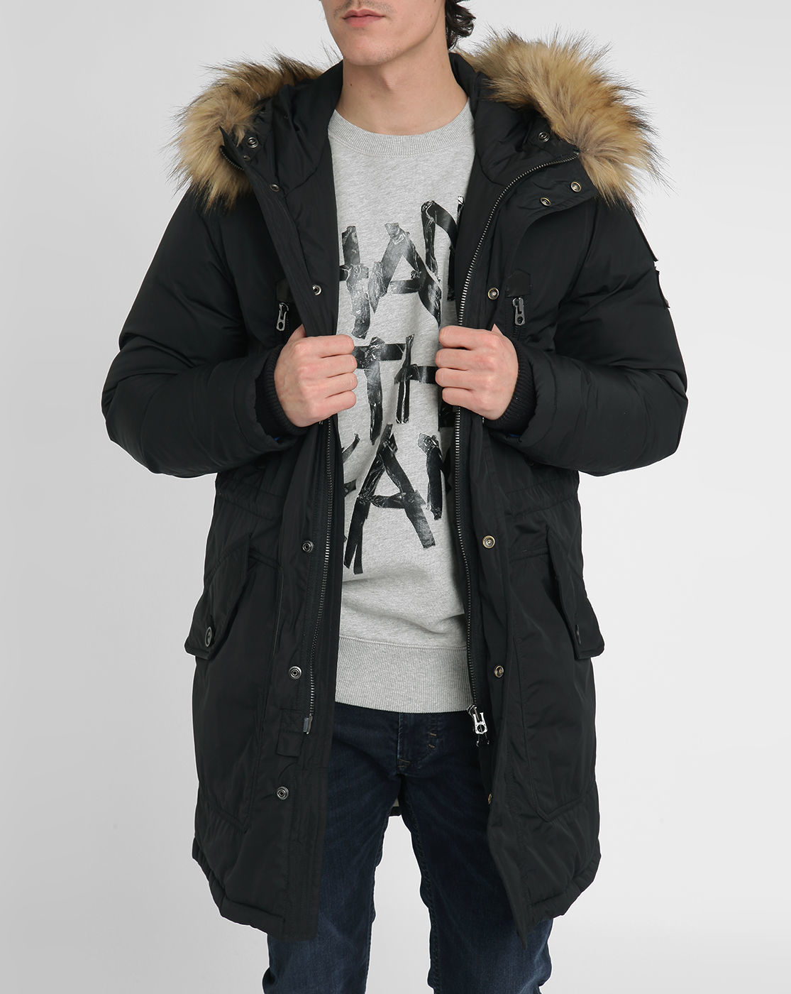 Mens Hooded Bomber Parka with Detachable Faux Fur Hood Trim Keeping this secret is one of the ways we keep bringing you top designers and brands at .