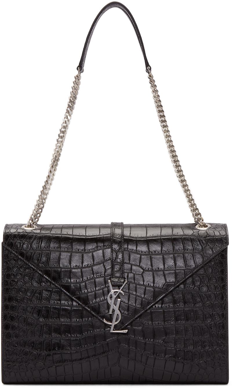45bdc8d08897 Lyst - Saint Laurent Black Croc-embossed Large Monogram Chain Bag in ...