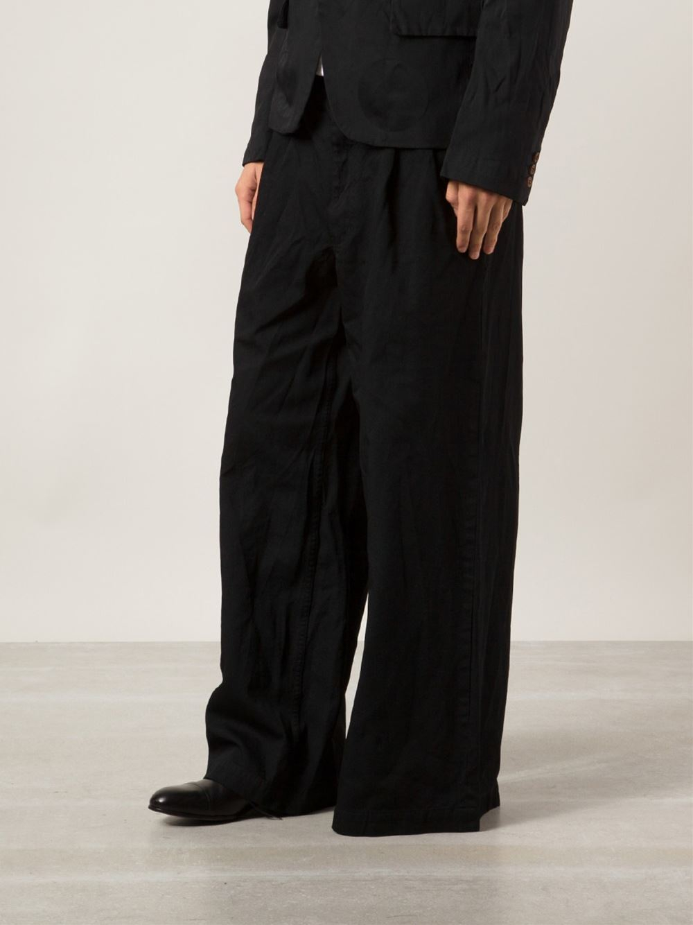 Comme Des Gar 231 Ons Wide Leg Trousers In Black For Men Lyst