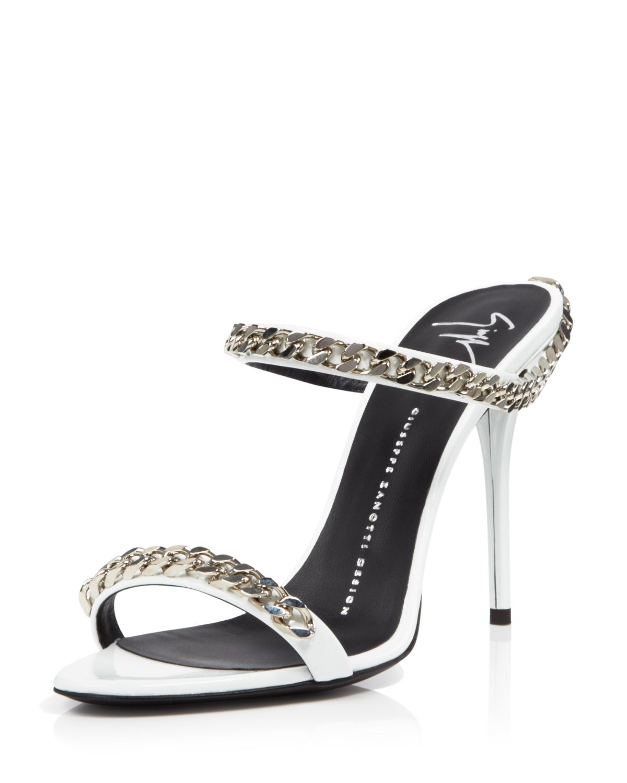 Giuseppe Zanotti Open Toe Slide Sandals Coline Chain