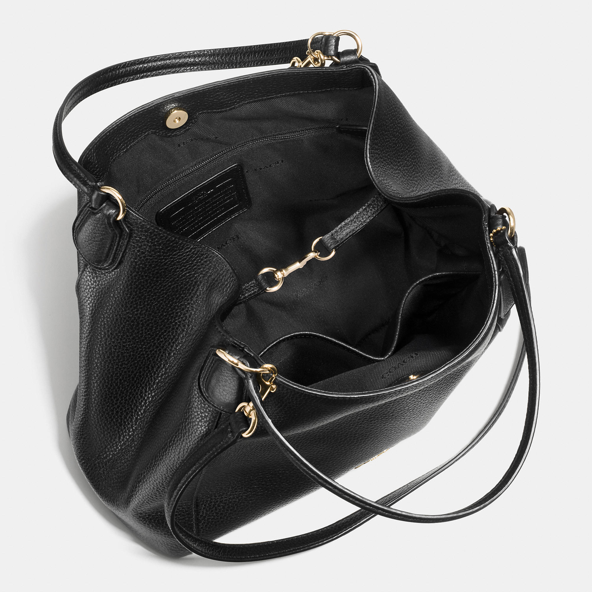 feb8fb3bc6b5 Lyst - COACH Edie Shoulder Bag 28 In Pebble Leather in Black