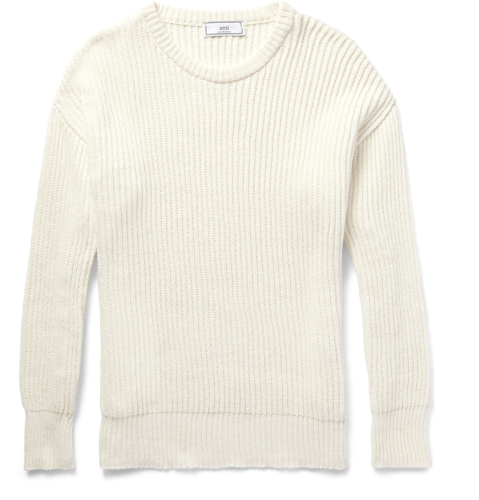 Ami Ribbed Cotton Sweater in Natural for Men | Lyst