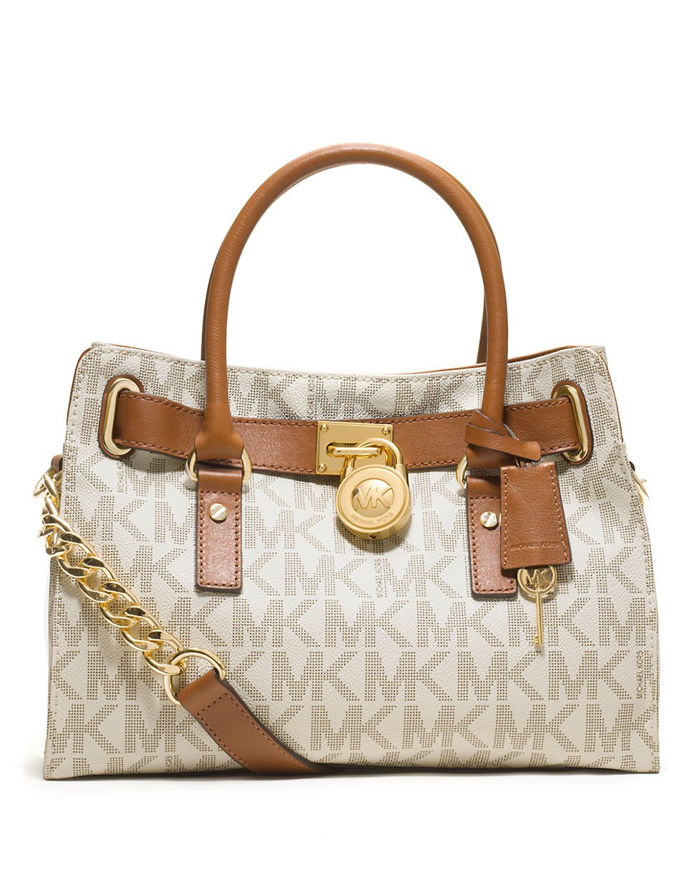 265df23b448 MICHAEL Michael Kors Hamilton Logo Satchel Bag in Brown - Lyst