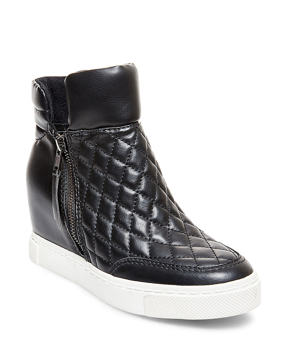5426b7418b0 Steve Madden Black Linqs Quilted Leatherette High-top Sneakers