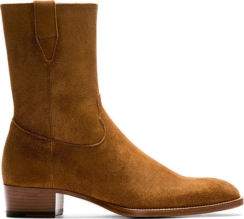 Saint laurent Brown Suede Wyatt Cowboy Boots in Brown for ...