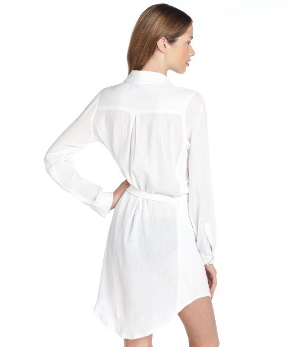 Calvin klein Cotton Button Down Shirt Dress Cover Up in White | Lyst
