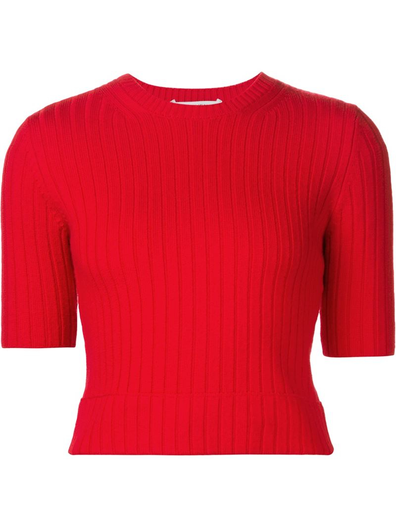 Carven Cropped Ribbed Sweater in Red | Lyst