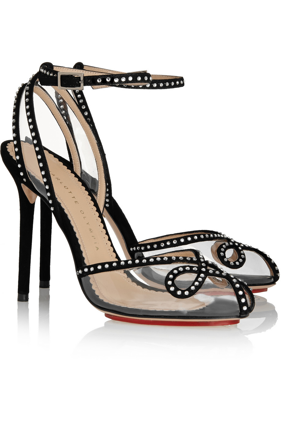 Charlotte Olympia Black Crystal Cage Sandals wBNaQp