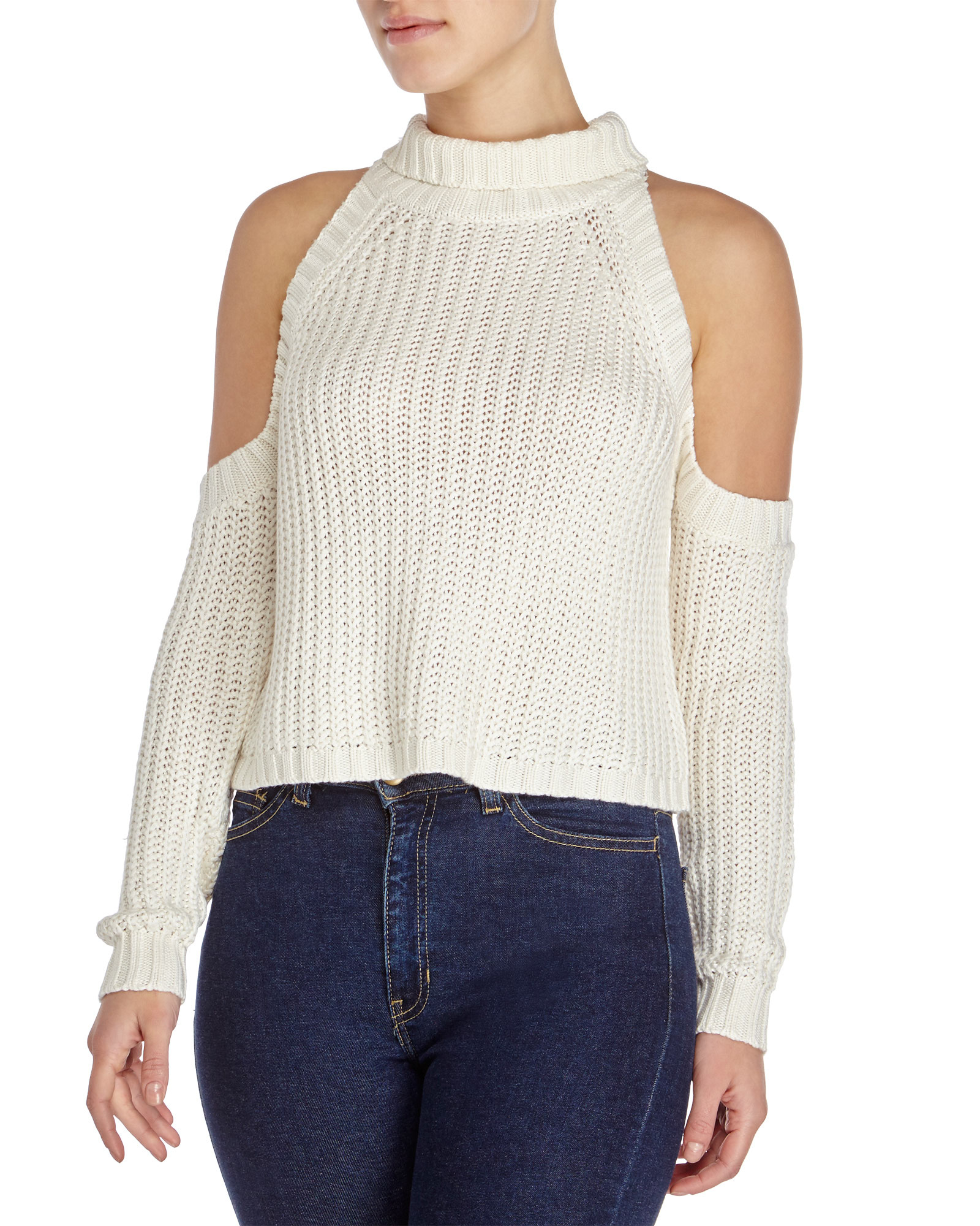 d42653010c0228 Lyst - Olivaceous Cold Shoulder Fisherman S Rib Sweater in White