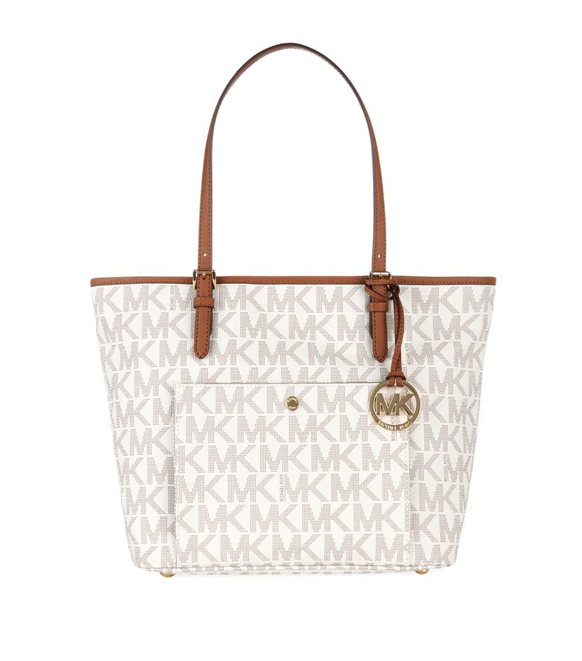 ... monogram bowler bag from house of fraser 34f3a aec87  sweden michael  michael kors jet set snap pocket tote in white lyst 3c998 4ee30 5ed2b69f9a267