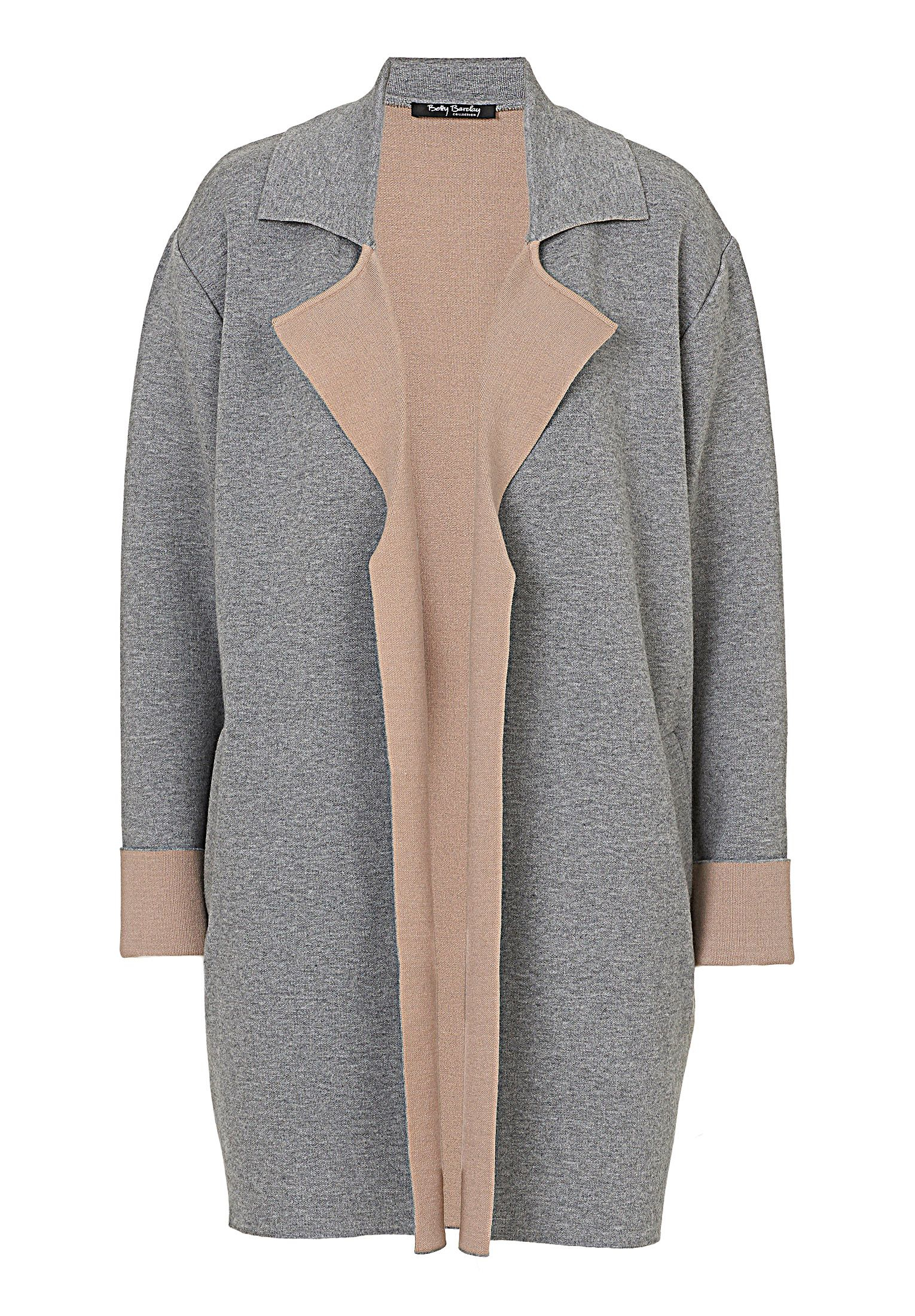 Betty barclay Knitted Cardigan Coat in Gray | Lyst