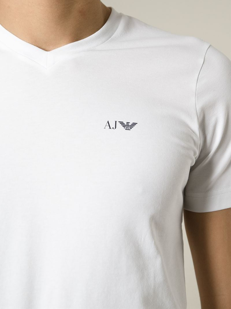 bfb26c3a4 Armani Jeans V-Neck T-Shirt in White for Men - Lyst