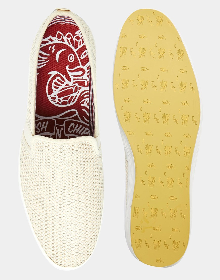 Fish n chips fish chips by base london slip on mesh for Fish and chips shoes