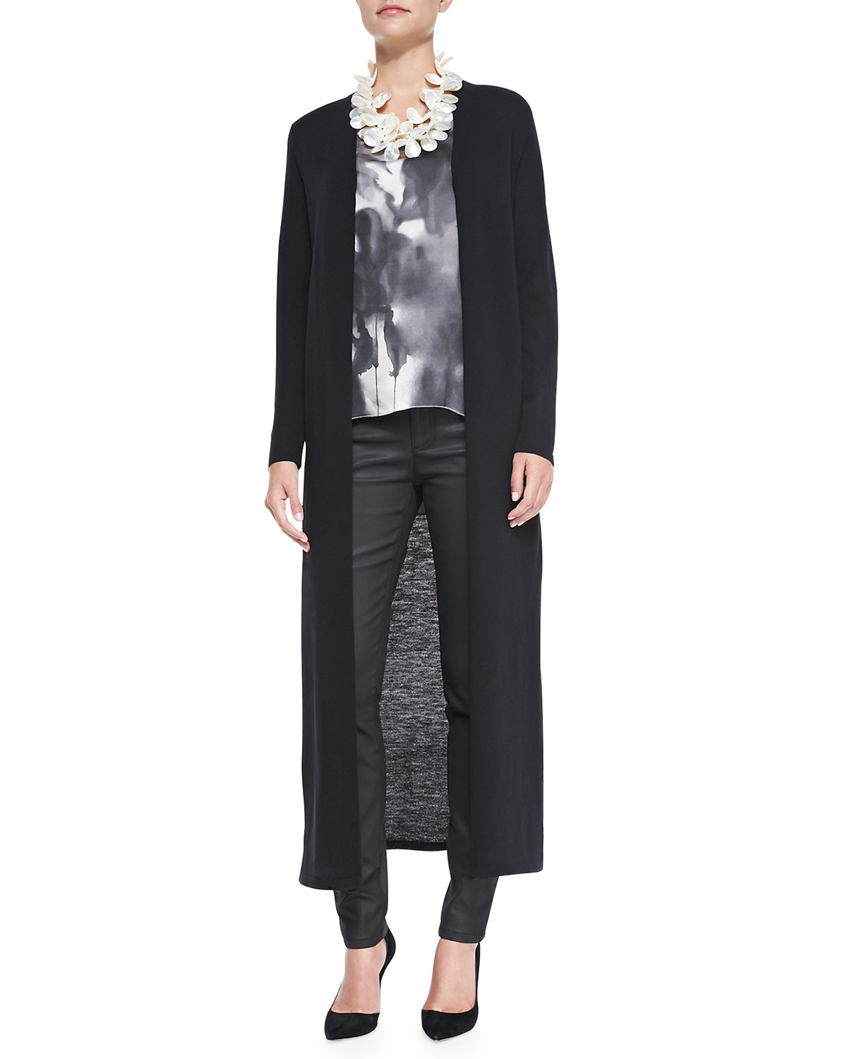 Eileen fisher Washable Wool Crepe Extra Long Cardigan in Black | Lyst