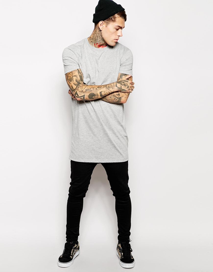 Asos Super Longline T-shirt With Relaxed Skater Fit in Gray for ...