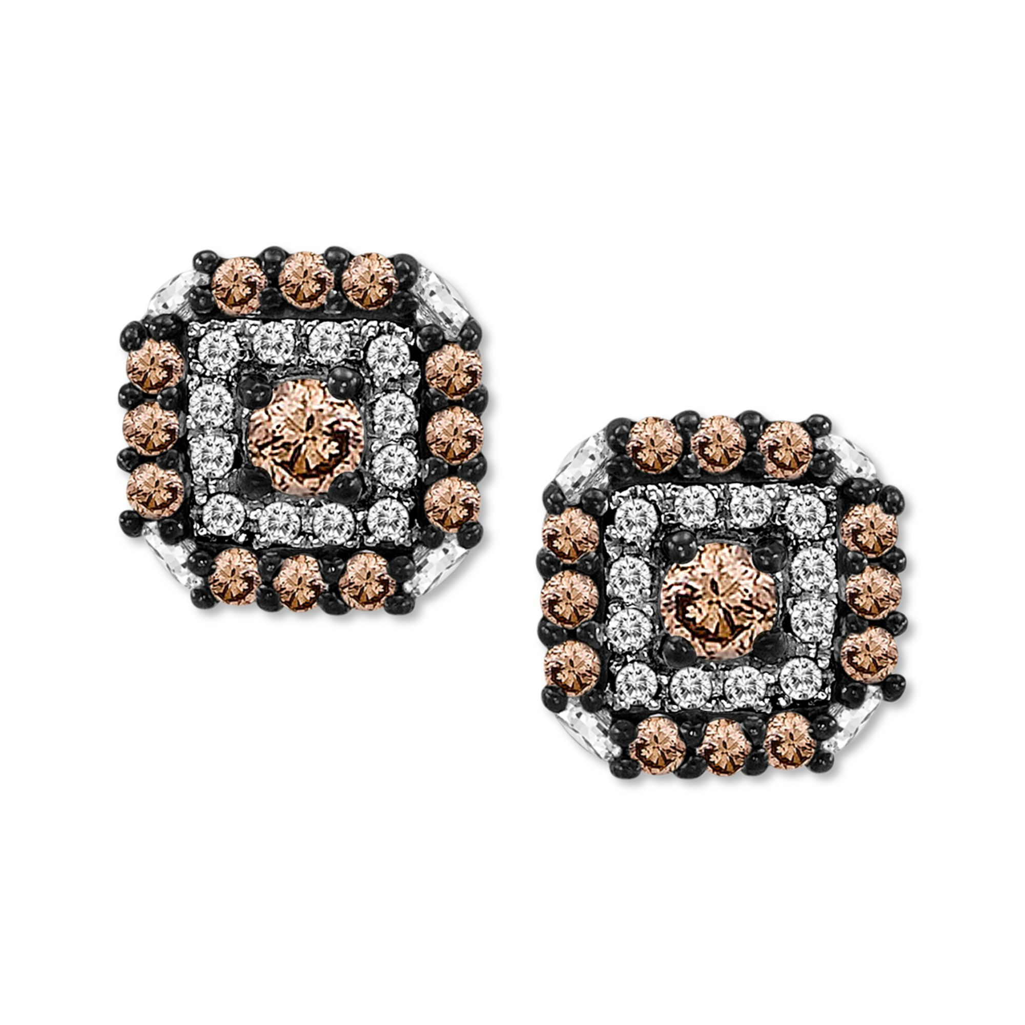 brown sabbia rose gold diamond stud women pomellato drop pink jewelry earrings lyst s