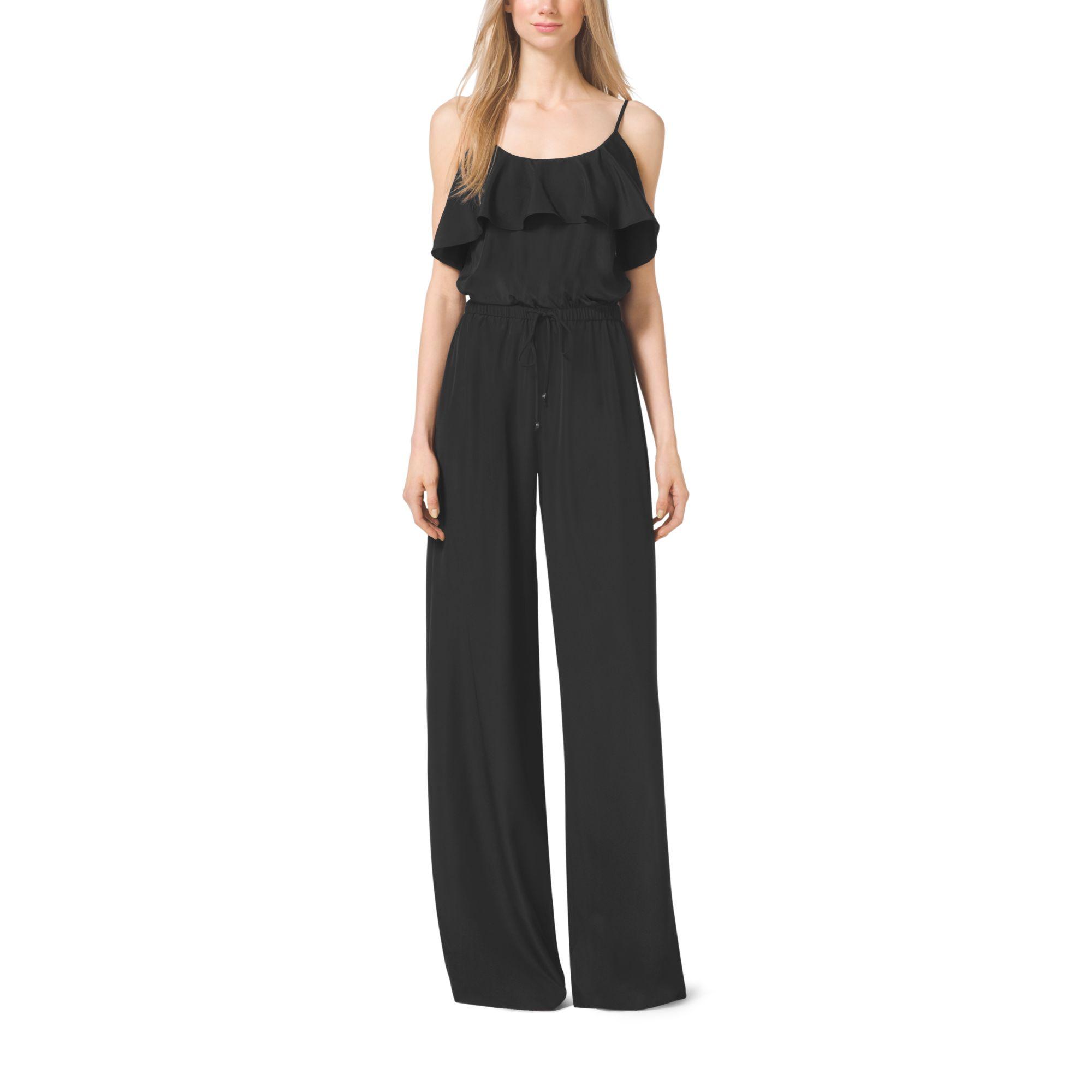 michael kors flounce crepe jumpsuit in black lyst. Black Bedroom Furniture Sets. Home Design Ideas