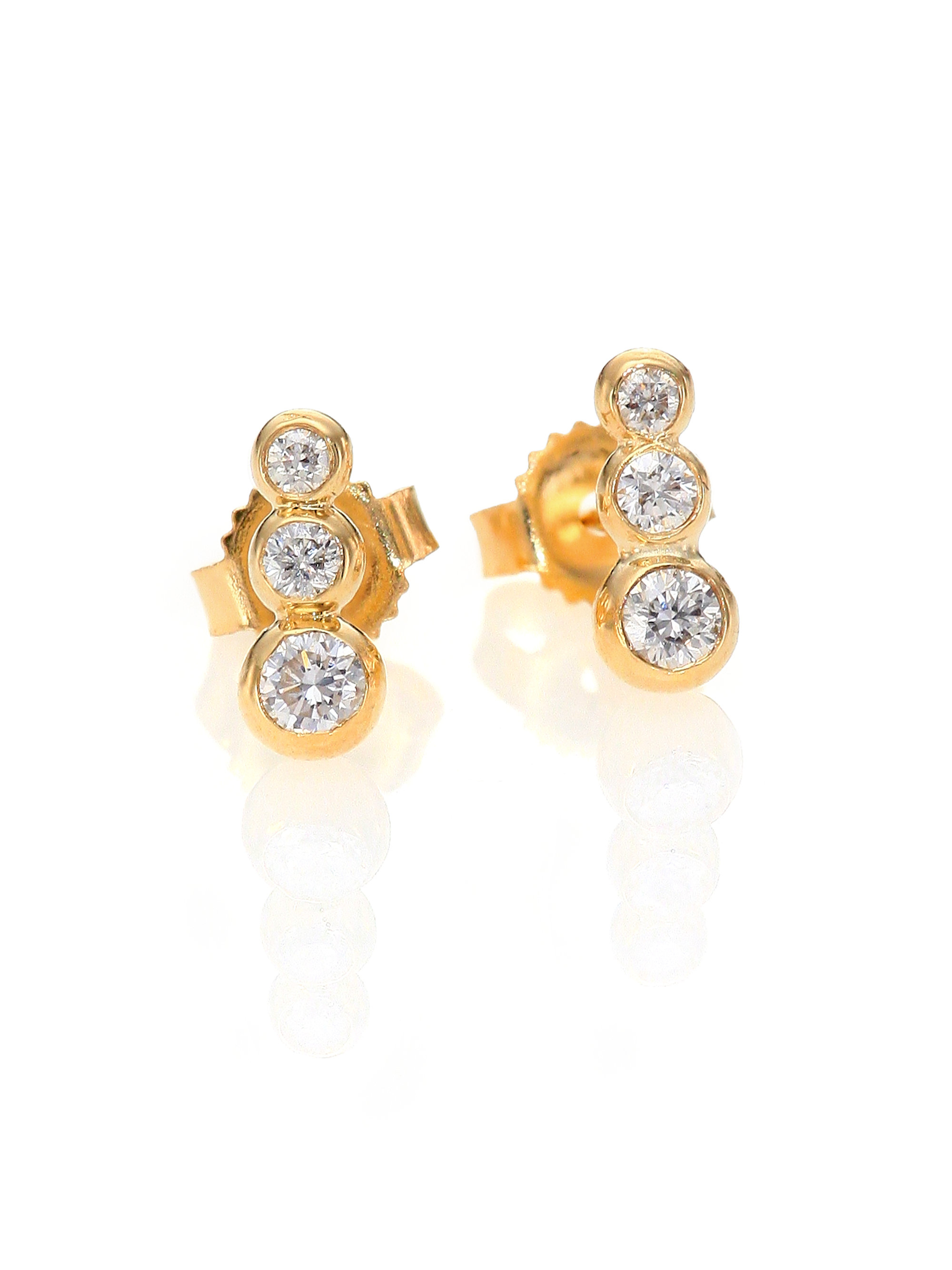 curated studs collections triple front cluster triangle angeles products bezel los three stud earrings diamond