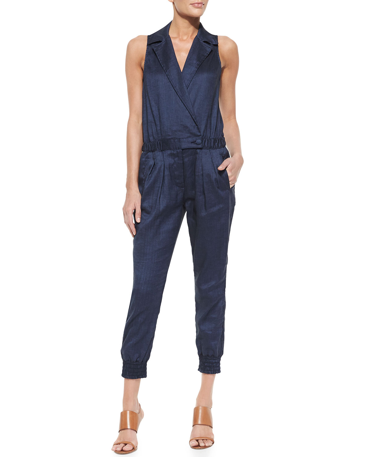 7 for all mankind sleeveless chambray jumpsuit in blue for Chambray 7 s