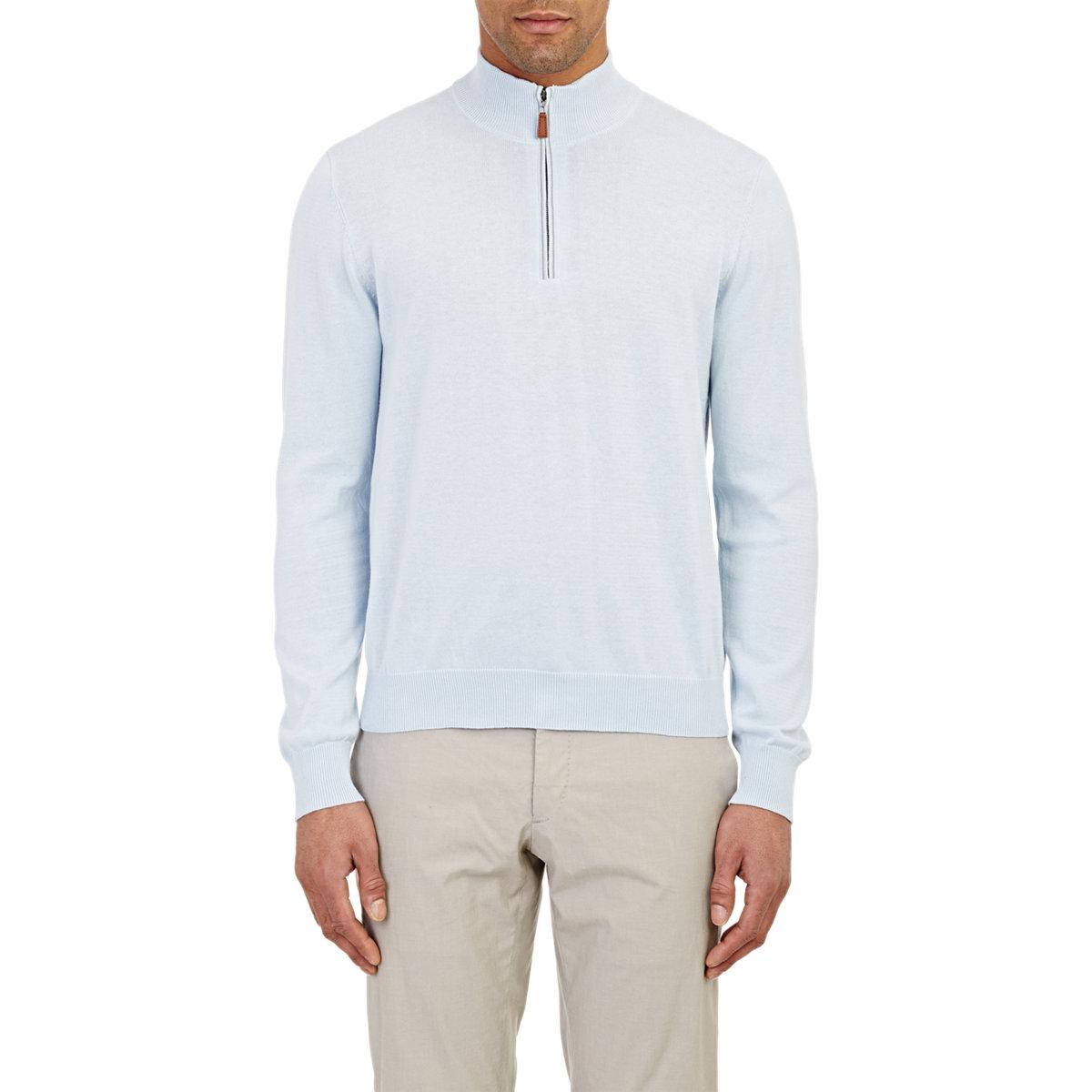 Knitting Pattern Half Zip Sweater : Piattelli Mens Half-zip Sweater in Blue for Men Lyst