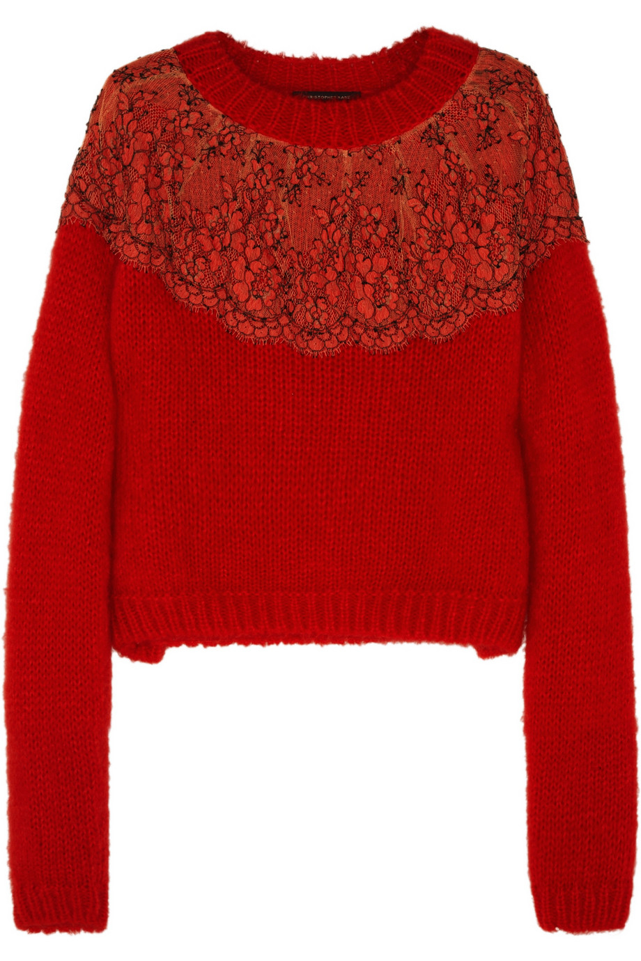 Christopher kane Lace-Appliquéd Angora-Blend Sweater in Red | Lyst