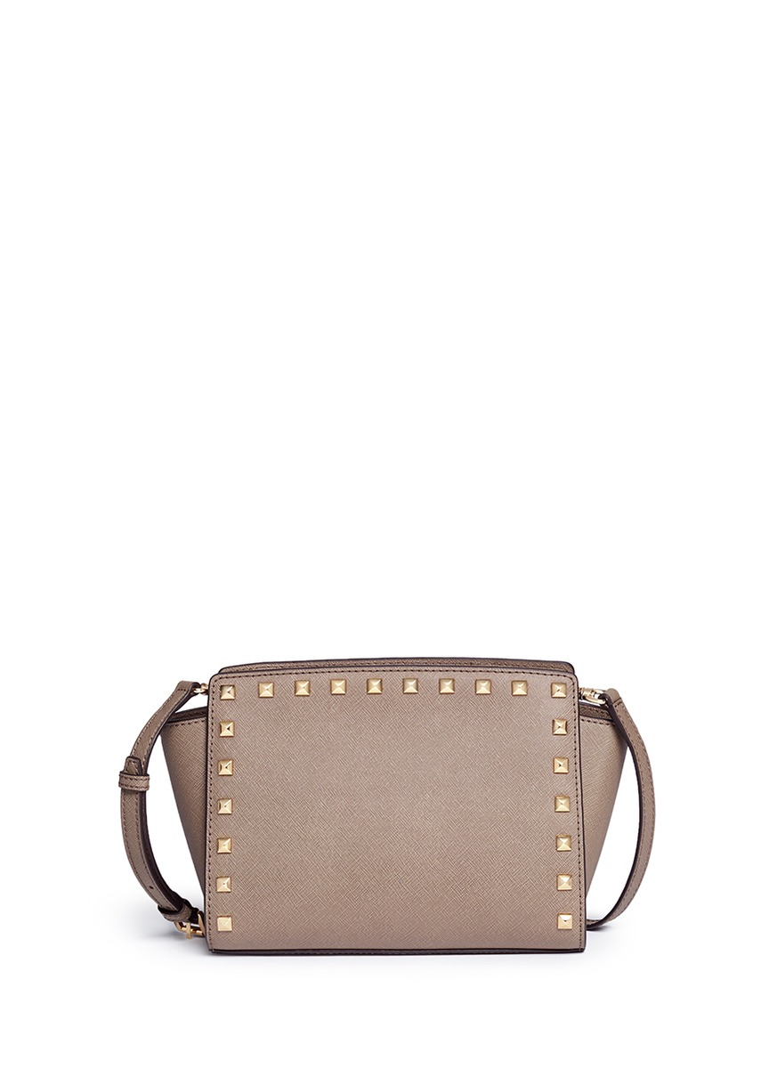 0651c538535b ... coupon code lyst michael kors selma stud saffiano leather shoulder bag  in brown 43eb1 52e9f