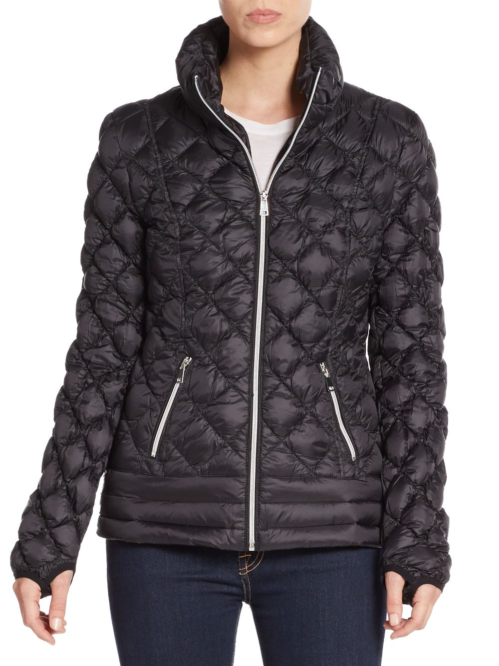 Saks Fifth Avenue Diamond Quilted Down Coat In Black Lyst