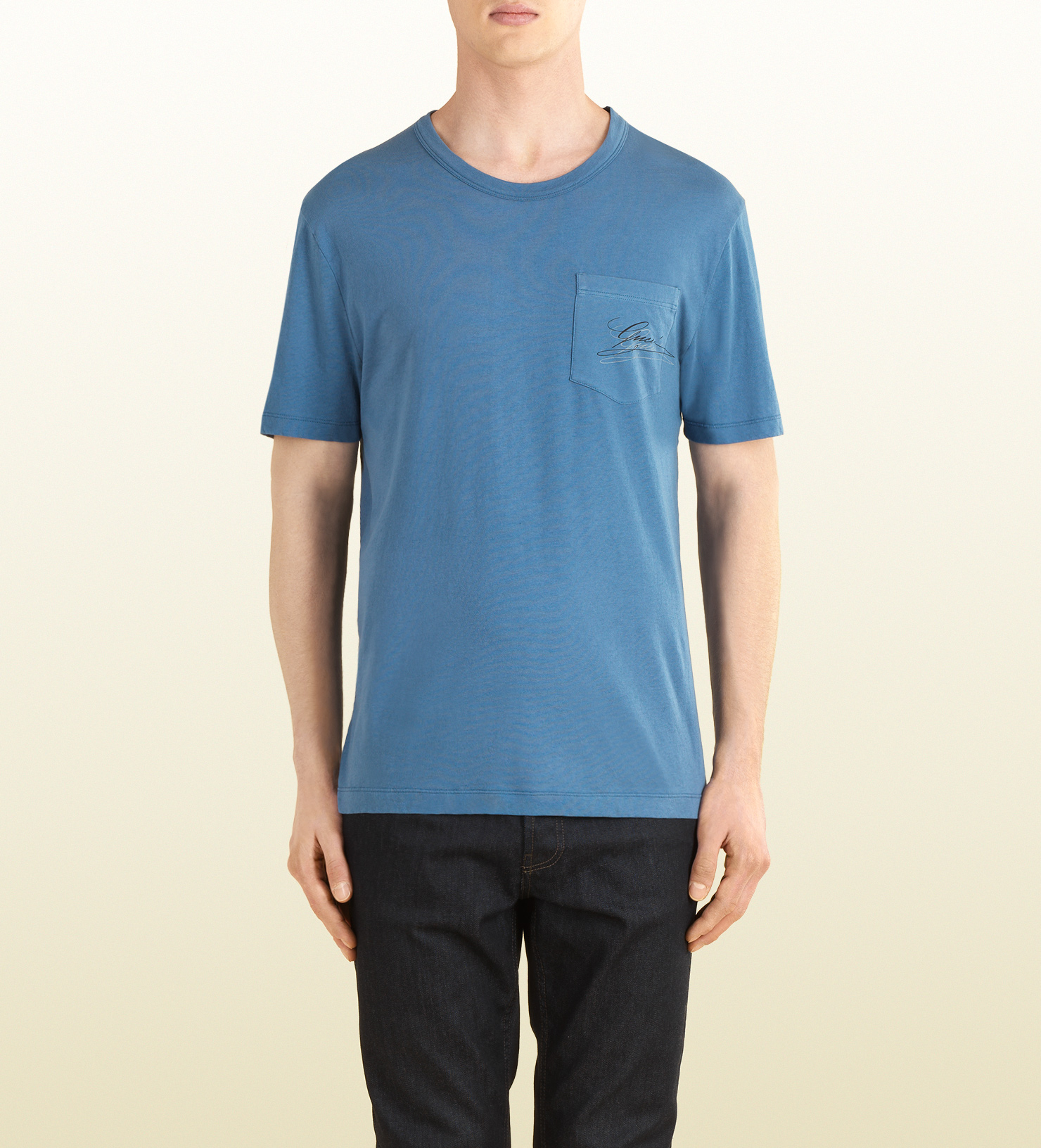 gucci blue cotton jersey pocket tshirt in blue for men lyst. Black Bedroom Furniture Sets. Home Design Ideas