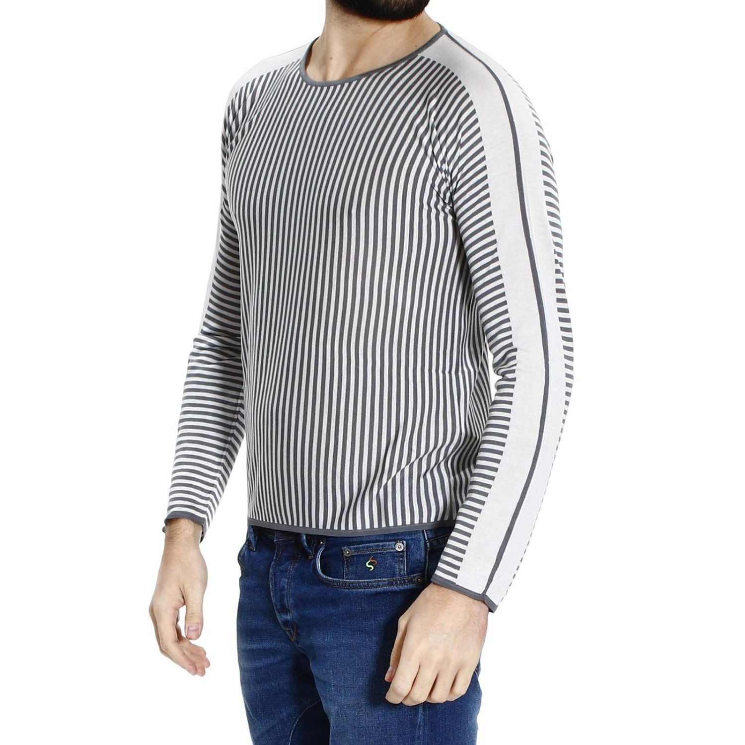 emporio armani sweater roundneck stripe in gray for men grey lyst. Black Bedroom Furniture Sets. Home Design Ideas