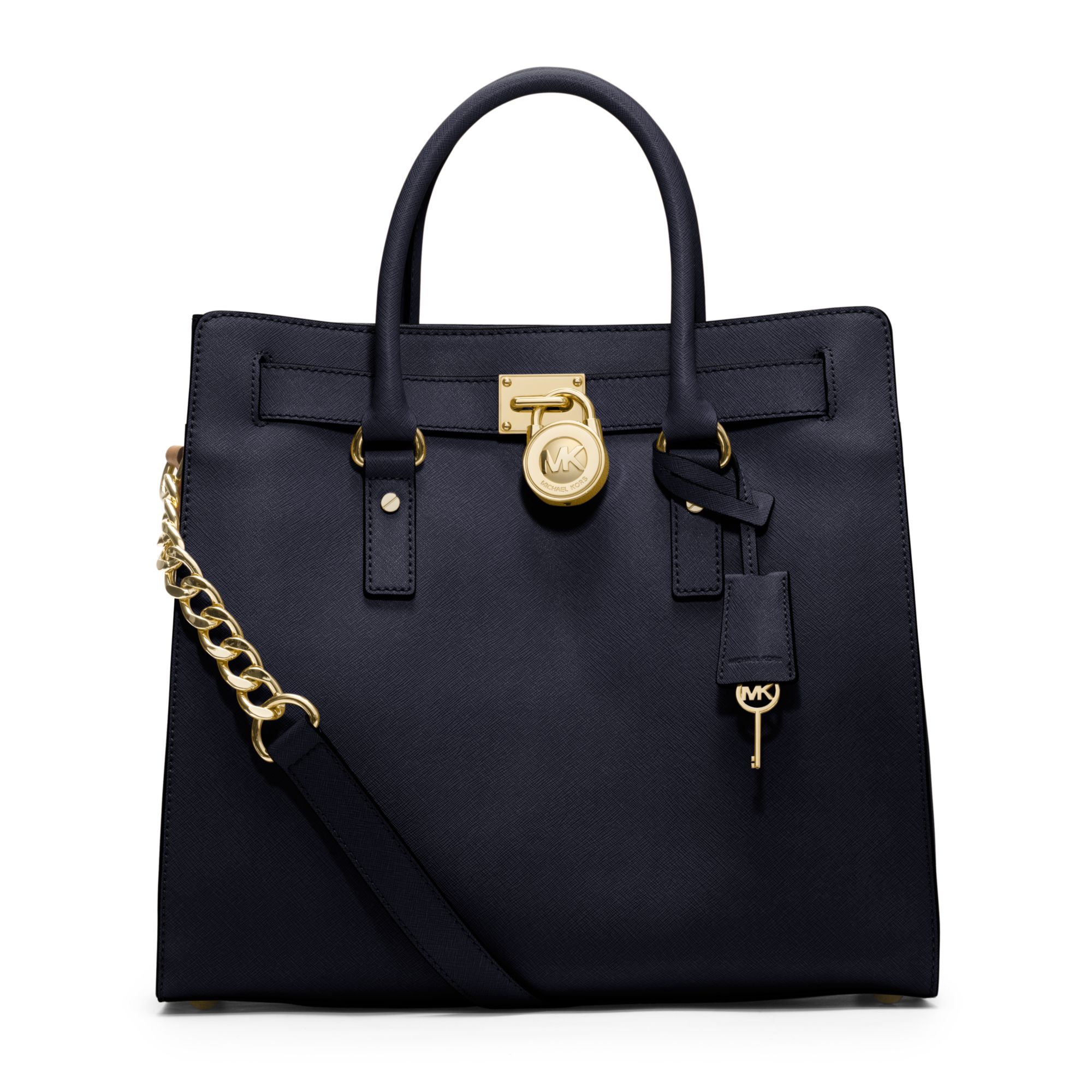 michael kors hamilton large saffiano leather tote in blue. Black Bedroom Furniture Sets. Home Design Ideas