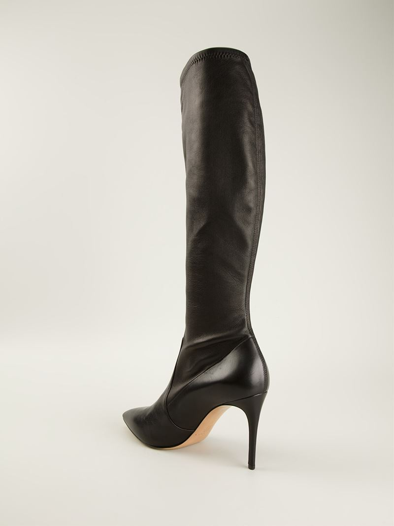 casadei knee high stiletto boots in black lyst