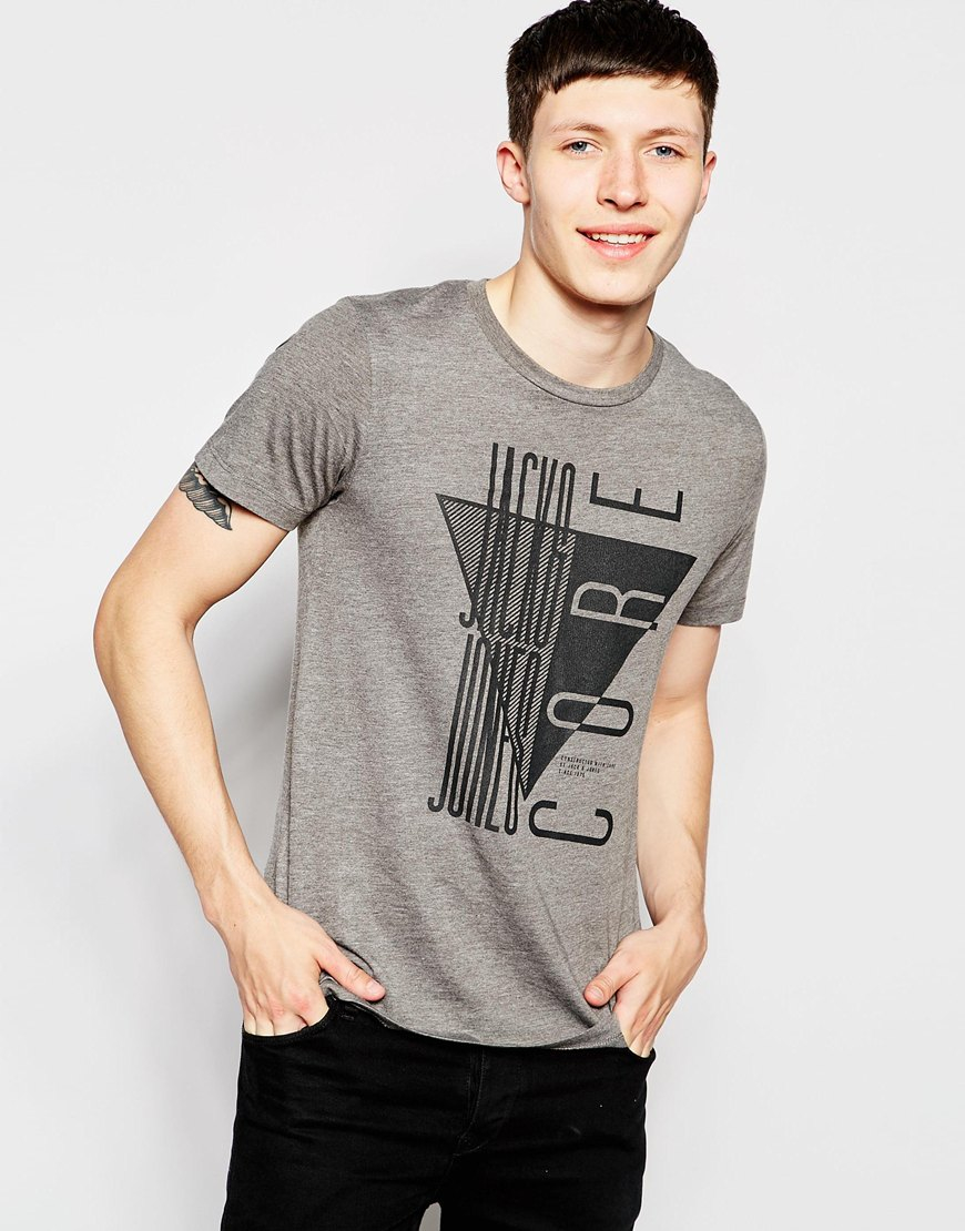 lyst jack jones t shirt with triangle print in gray for men. Black Bedroom Furniture Sets. Home Design Ideas
