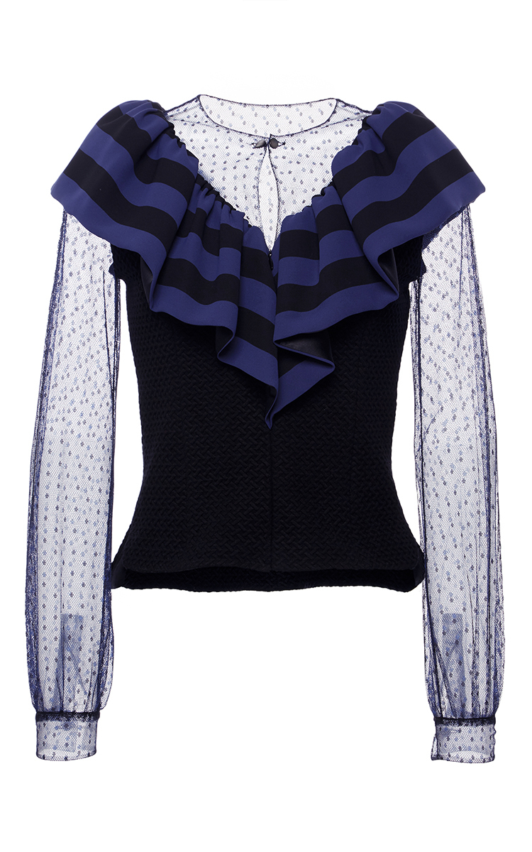 Alexis mabille ruffled long sleeve victorian blouse in for Adam lippes women s long sleeve vee t shirt