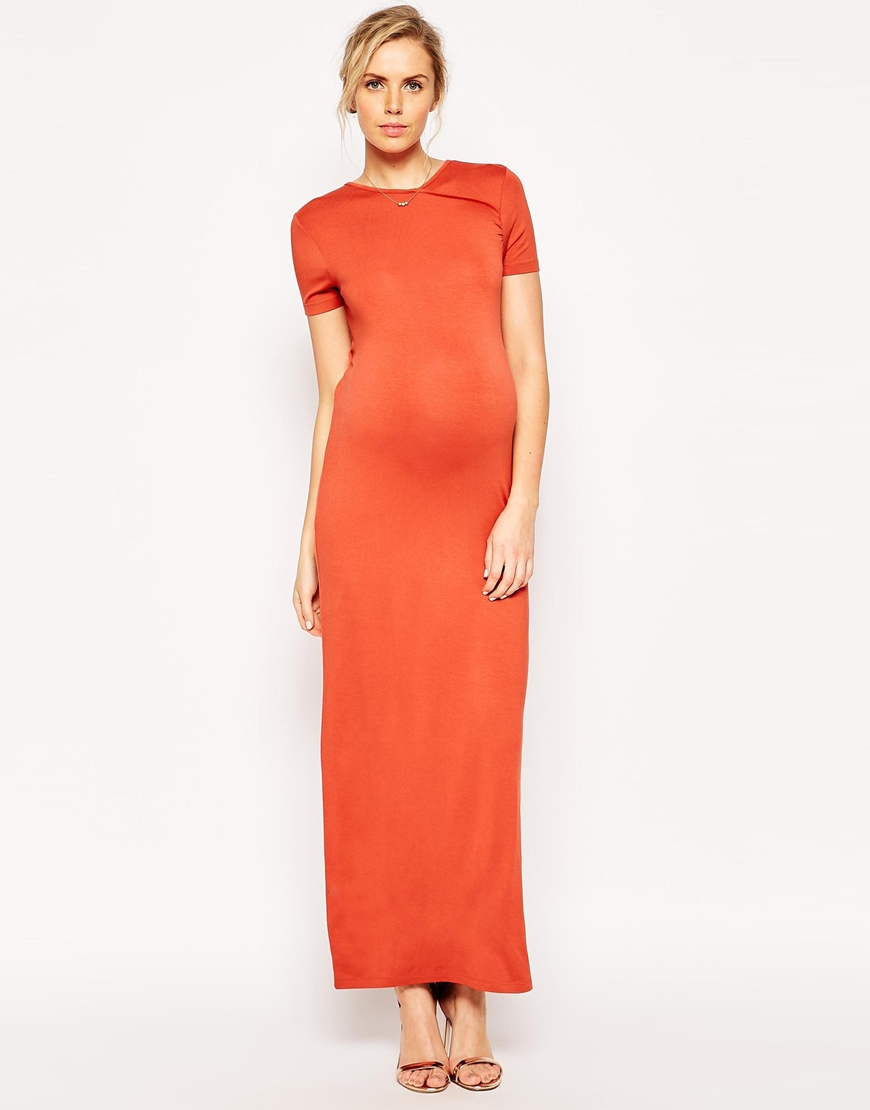 Asos maternity maxi dress with wrap back in orange lyst