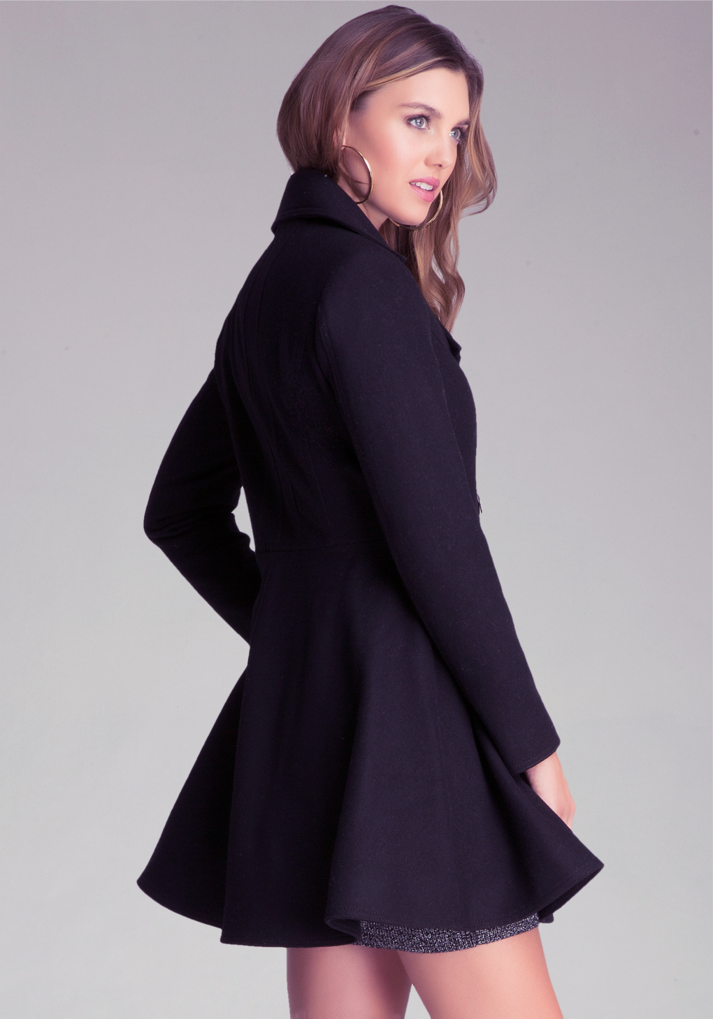 Bebe Wool Flared Coat in Black | Lyst