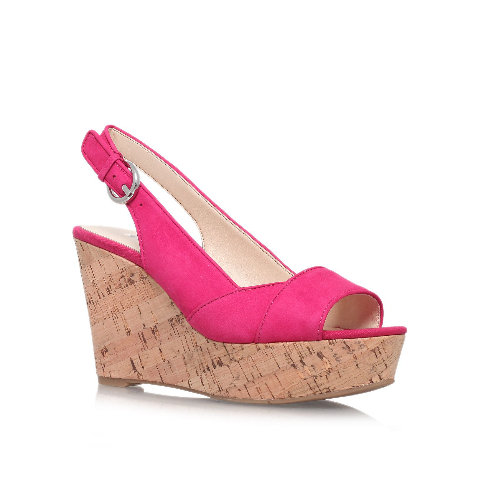 nine west caballo high heel wedge shoes in pink lyst