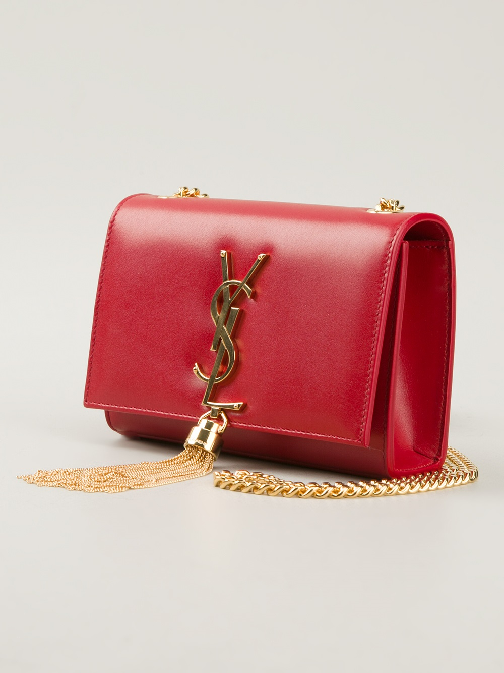 b36ad60416a0 Saint Laurent Classic Monogramme Tassel Shoulder Bag in Red - Lyst
