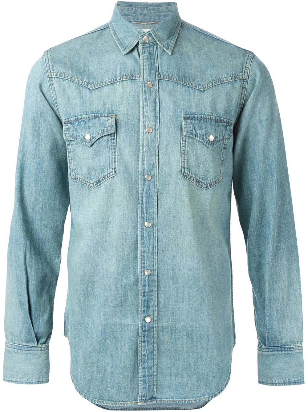 c81c8912b0ba Saint Laurent Denim Western Shirt in Blue for Men - Lyst