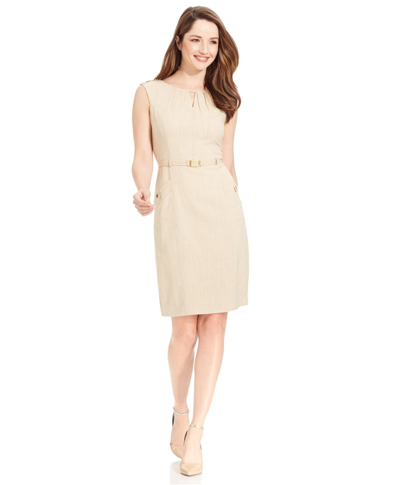 tracy belted keyhole neck sheath dress in lyst