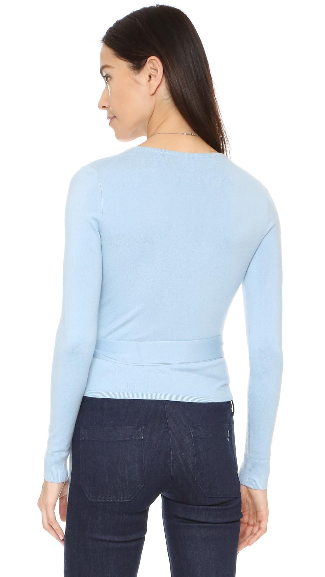 Diane von furstenberg Ballerina Wrap Sweater in Blue | Lyst